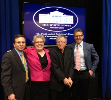 White House Champions of Change for Parkinson's Left to right: Karl Robb, Angela Robb, Greg Wasson, Davis Phinney