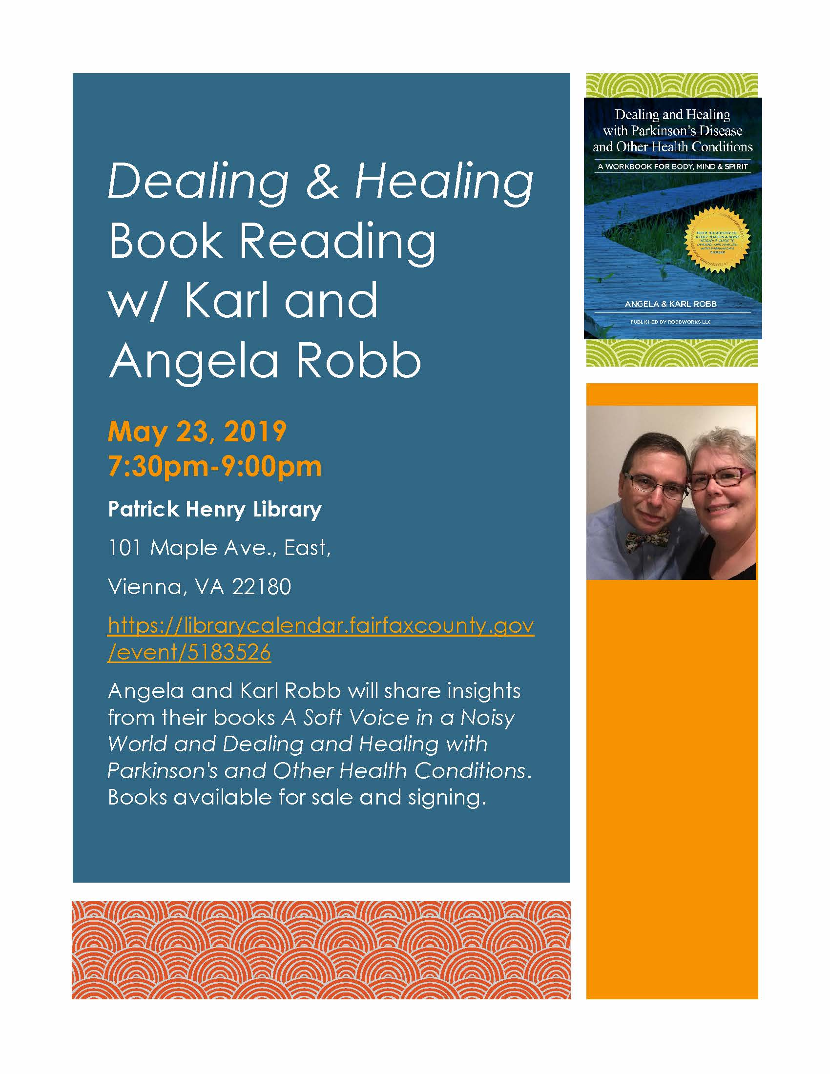 Thursday 5/23/19 Dealing & Healing Book Reading & Author event in NoVA